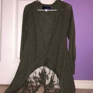 Green Lace Detail Cardigan